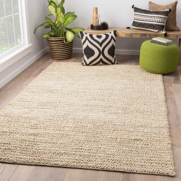 Arcadia Natural Solid Beige/ White Area Rug (2' X 3') - 2' x 3'