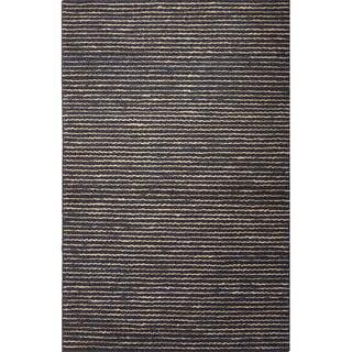Handmade Stripe Pattern Grey/ Beige Hemp Area Rug (8' x 10')