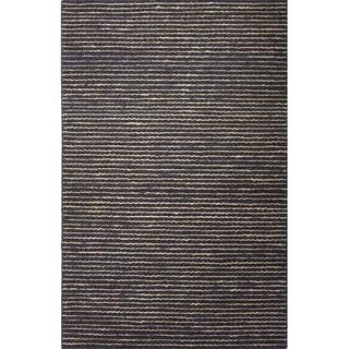 Handmade Stripe Pattern Grey/ Beige Hemp Area Rug (2' x 3')