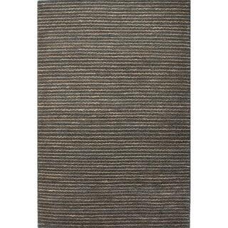 Handmade Stripe Pattern Beige Hemp Area Rug (9' x 12')