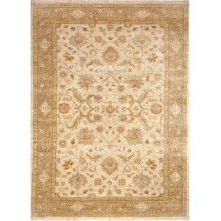 Hand Knotted Oriental Pattern Ivory/ Beige Wool Area Rug (2' x 3')