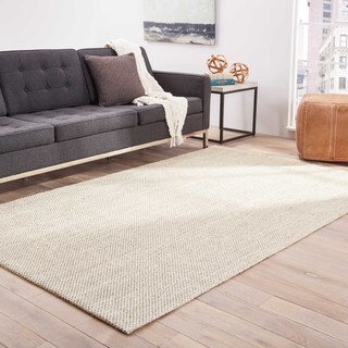 Nalani Natural Solid White/ Taupe Area Rug (9' X 12')