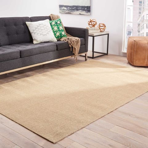 The Curated Nomad Otter Wood Natural Solid Beige Area Rug - 5' x 8' - 5' x 8'