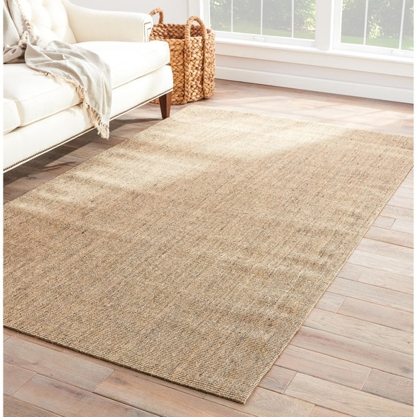 Hermosa Natural Solid Cream Gray Area Rug 8 X 10