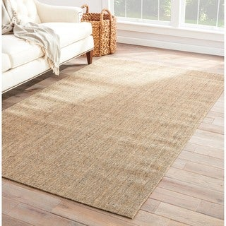 Hermosa Natural Solid Cream/ Gray Area Rug (2' X 3')