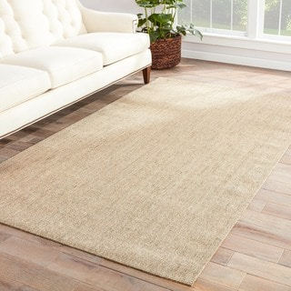 Hermosa Natural Solid Beige Area Rug (9' X 12')