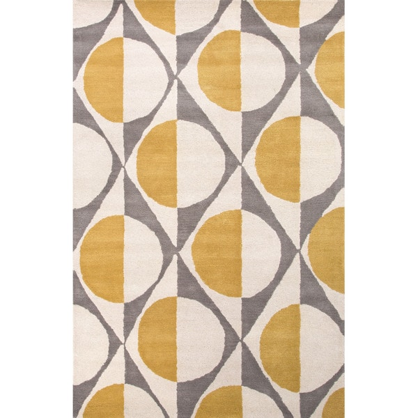Shop Hand Tufted Geometric Pattern Gold Grey Wool Area