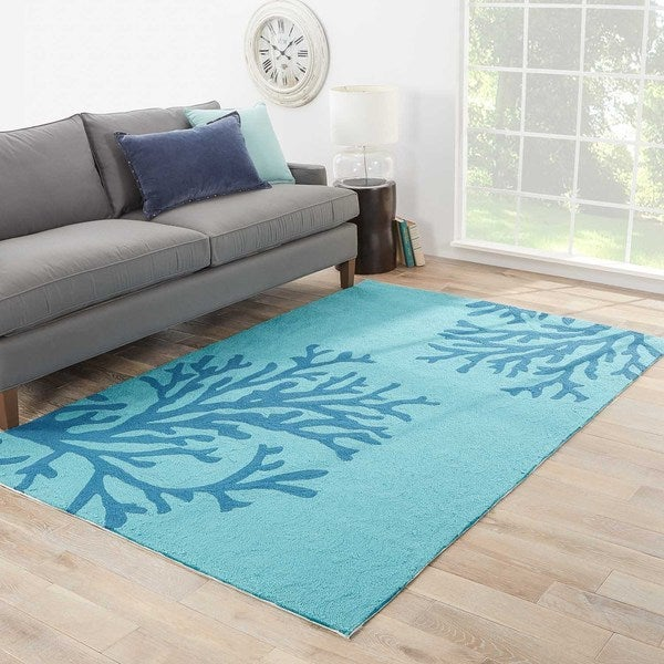 "Neptune Indoor/ Outdoor Floral Teal/ Blue Area Rug (7'6"" x 9'6"")"