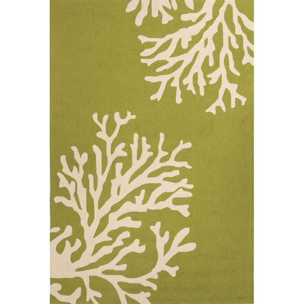 "Indoor/ Outdoor Abstract Green Area Rug (3'6"" X 5'6"")"