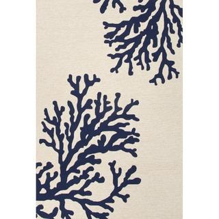Handmade Abstract Pattern White/ Blue Polypropylene Area Rug (5' x 7'6)