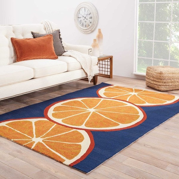 "Tangerine Indoor/ Outdoor Geometric Orange/ Blue Area Rug (7'6"" X 9'6"")"