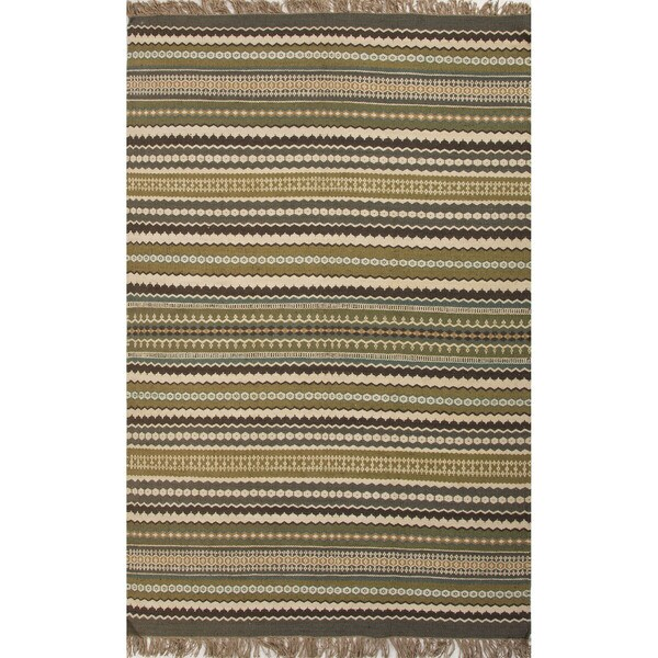 Green Flat Weave Rug: Shop Flat Weave Stripe Pattern Green/ Blue Jute/ Chinille