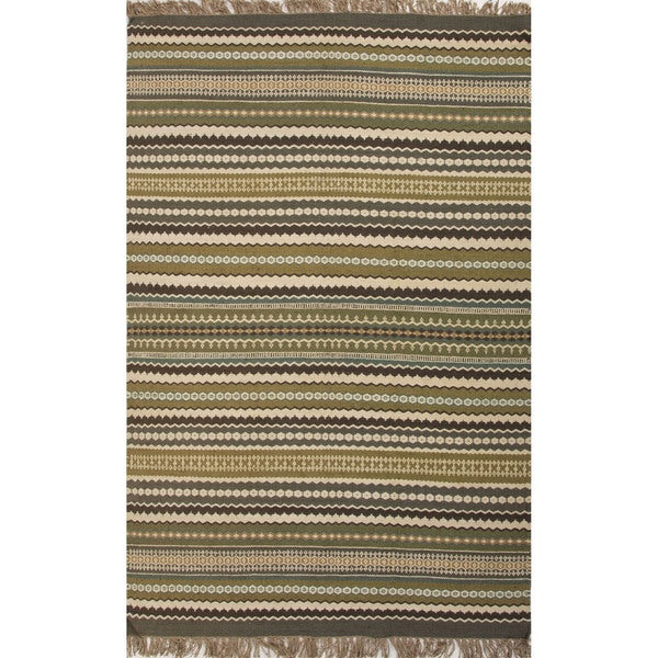 Green Flat Weave Rug: Flat Weave Stripe Pattern Green/ Blue Jute/ Chinille Area