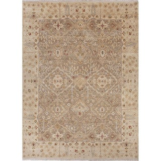 Hand Knotted Oriental Pattern Grey Wool Area Rug (12' x 15')