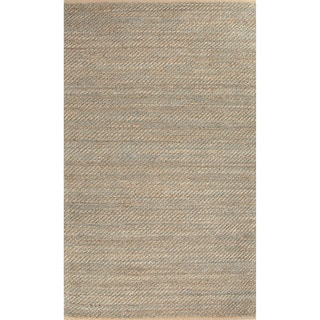 Travers Natural Solid Tan/ Green Area Rug (8' x 10')