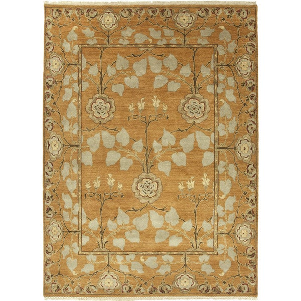 Hand-Knotted Floral Orange Area Rug - 6' x 9'