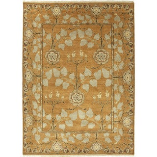 Hand Knotted Floral Pattern Orange/ Green Wool Area Rug (8' x 10')