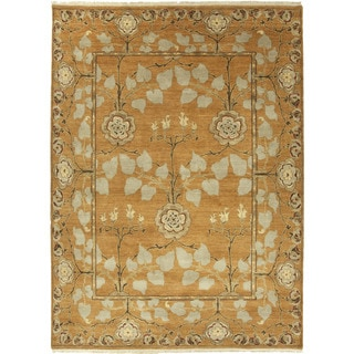Hand Knotted Floral Pattern Orange/ Green Wool Area Rug (2'x3')