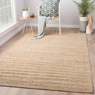 Solis Natural Solid Tan/ Green Area Rug (8' x 10')
