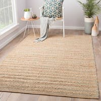 Solis Natural Solid Tan/ Green Area Rug (8' x 10')