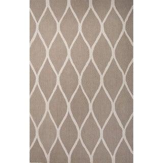 Hand Tufted Geometric Pattern Brown/ Beige Wool Area Rug (8' x 10')