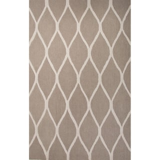 Hand Tufted Geometric Pattern Brown/ Beige Wool Area Rug (4' x 6')