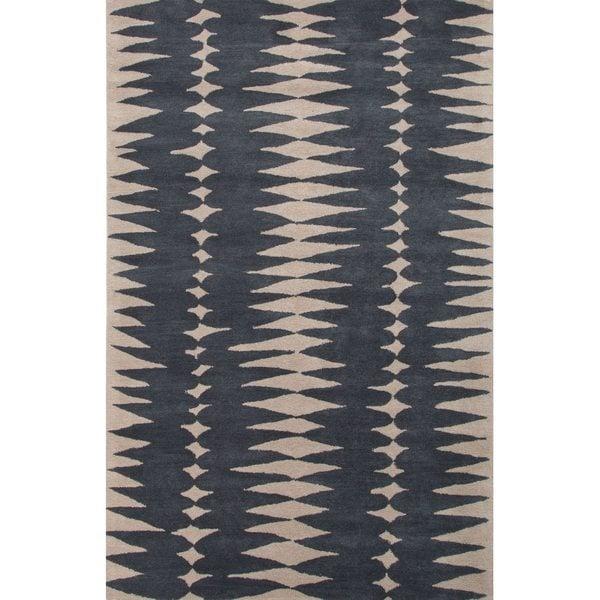 Gammon Handmade Geometric Gray/ Beige Area Rug (2' X 3')
