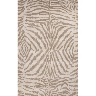 Hand Tufted Animal Pattern Grey/ Ivory Wool Area Rug (5' x 8')