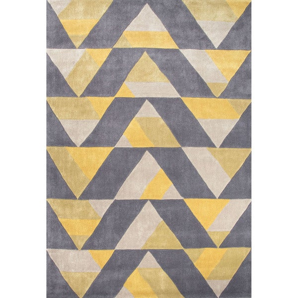 Purple Triangle Rug: Hand Tufted Geometric Pattern Gold/ Grey Polyester Area