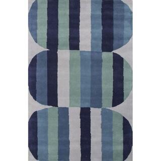 Hand Tufted Geometric Pattern Blue/ Green Wool Area Rug (8' x 11')