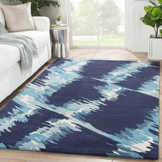 Hand Tufted Abstract Pattern Blue Wool Area Rug (5' x 8')