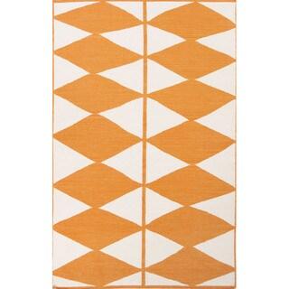 Flat Weave Geometric Pattern Orange/ Ivory Wool Area Rug (8' x 11')