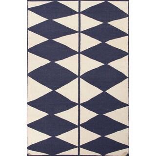 Flat Weave Geometric Pattern Blue/ Ivory Wool Area Rug (4' x 6')