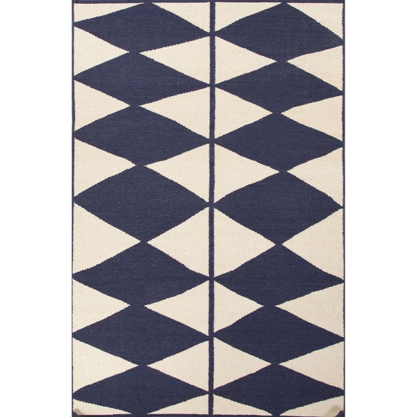 Flat Weave Geometric Pattern Blue/ Ivory Wool Area Rug - 5' x 8'
