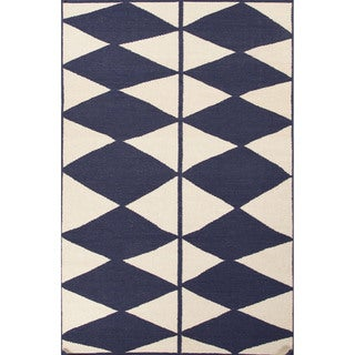 Flat Weave Geometric Pattern Blue/ Ivory Wool Area Rug (5' x 8')