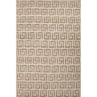 Handmade Abstract Pattern Grey/ Ivory Hemp Area Rug (4' x 6')