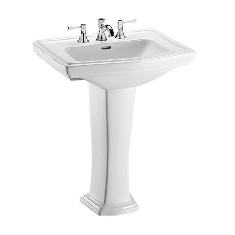 Toto Clayton Rectangular Pedestal Bathroom Sink for 8 Inch Center Faucets, Cotton White (LPT780.8#01)