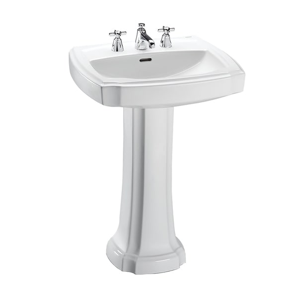 "Toto Guinevere 24-3/8"" x 19-7/8"" Rectangular Pedestal Bathroom Sink for 8 Inch Center Faucets, Cotton White (LPT972.8#01)"