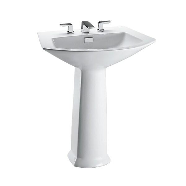 """Toto Soirée 25-1/8"""" x 18-7/8"""" Arched Front Rectangular Pedestal Bathroom Sink, Cotton White (LPT962.8#01)"""