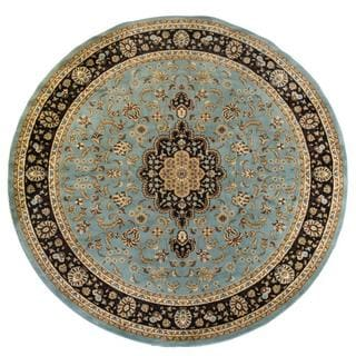 Light Blue Traditional Medallion Area Rug Plush Pile (7'10 Round)