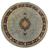 Well Woven Light Blue Traditional Medallion Plush Pile Round Rug - 7'10
