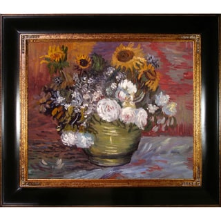 Vincent Van Gogh 'Sunflowers, Roses and Other Flowers' Hand-painted Framed Canvas Art