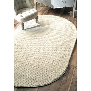 nuLOOM Handmade Braided Cable White New Zealand Wool Oval Rug (5' x 8')