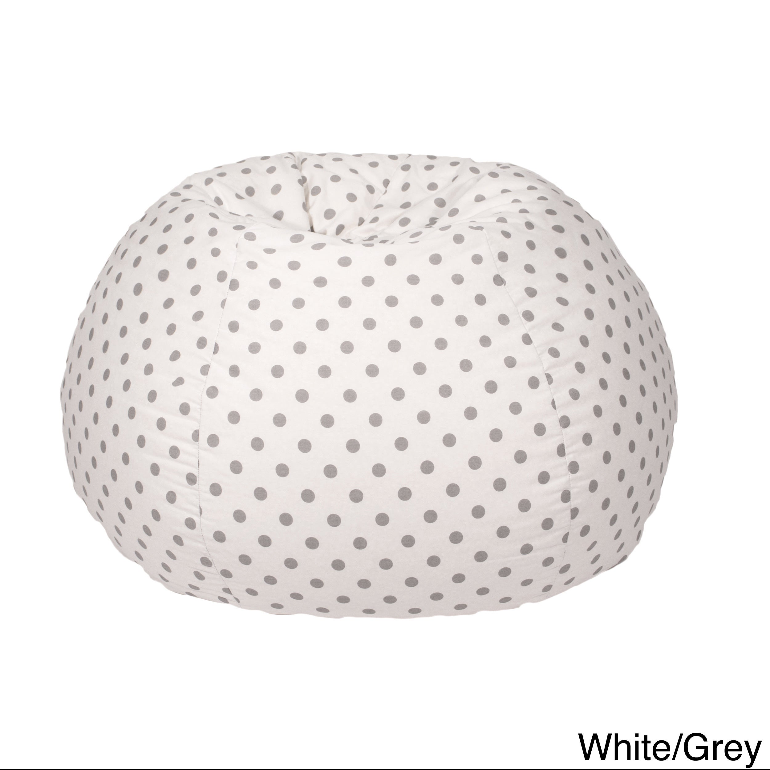Gold Medal Polka Dotted Twill Cotton Bean Bag (White/Grey...