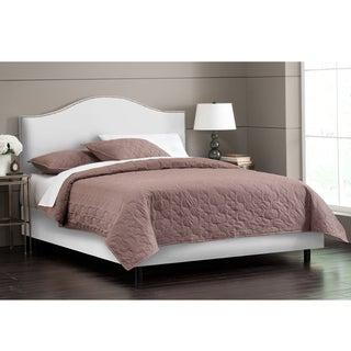 Skyline Furniture Nail Button Bed in Velvet White