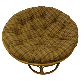 Celebration Tan Plaid Reversible Papasan Cushion
