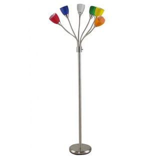 Brushed Nickel 6-head Multi-colored Glass Adjustable Gooseneck Floor Lamp