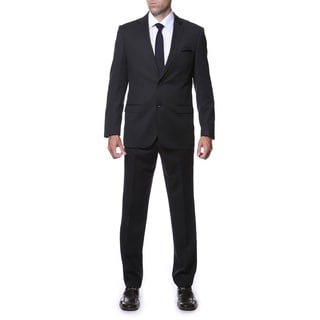 Ferrecci Men's Slim Fit Black Striped Tone on Tone 2-piece Suit
