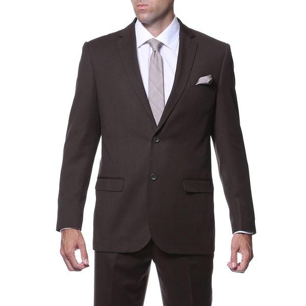 Ferrecci Mens Slim Fit Dark Brown Striped Tone on Tone 2-piece Suit