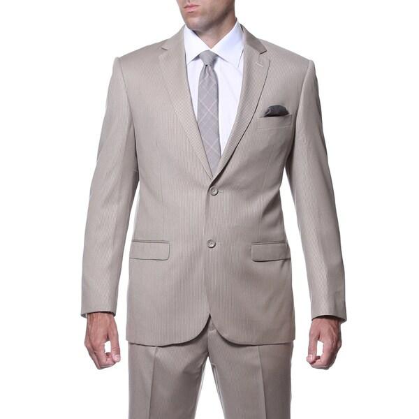 Ferrecci Mens Slim Fit Tan Striped Tone on Tone 2-piece Suit